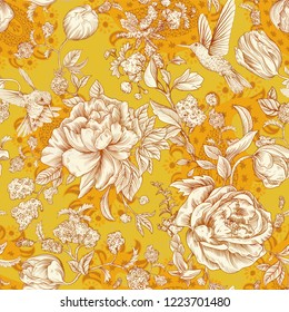 Vector seamless pattern with peonies and birds in Provence style. Floral background texture for cards, invitations, web, fabrics. Vector floral backdrop