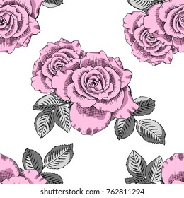 Vector seamless pattern with peonies and tulip 2
