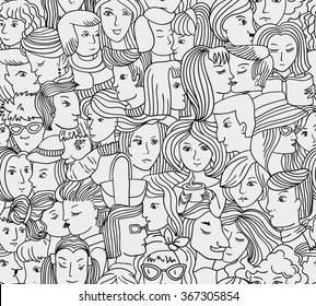 Vector seamless pattern with peoples. Vector illustration with big crowd of people
