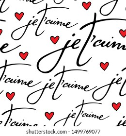 """Vector seamless pattern with phrase """"i love you """" in french . je t'aime. Love , romantic , wedding, saint valentine design."""