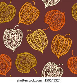 Vector seamless pattern of physalis. Cape Gooseberry (winter cherry)