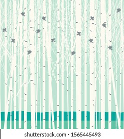 Vector seamless pattern with a picture of the birch forest with birds. Winter birch grove texture in white and blue colors. Young trees and funny birds on the blue sky background