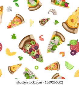 Vector seamless pattern of pieces of different pizza and ingredients on a white background