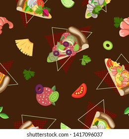 Vector seamless pattern of pieces of different pizza and ingredients. Dark brown background
