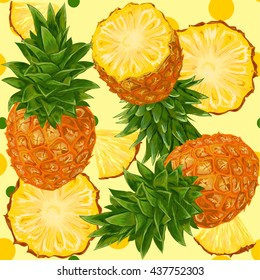 Vector seamless pattern with pineapples.