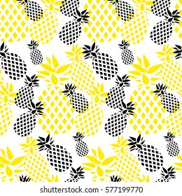 Vector Seamless Pattern with Pineapples. Abstract pineapples. Black and yellow abstract  pineapples.