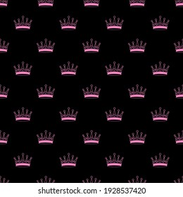 vector seamless pattern with pink crowns