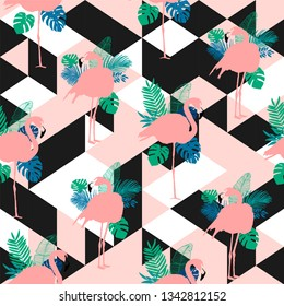 Vector seamless pattern, pink flamingo, exotic birds, tropical flowers, palm leaves, bird of paradise