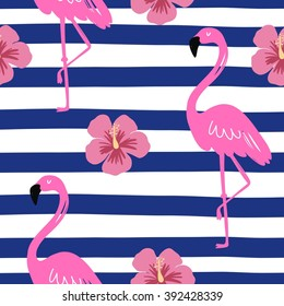 Vector Seamless pattern with pink flamingo
