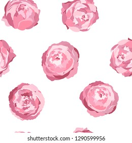 Vector seamless pattern with pink peony flowers on white background. Romantic design for natural cosmetics, perfume, women products. Can be used as greeting card or wedding background