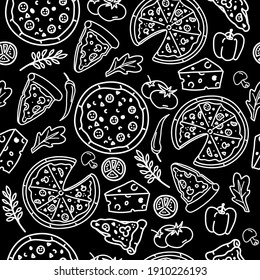 Vector seamless pattern  with  pizza in doodle style. Hand drawn food. Icon, symbol, logo. cook.