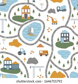 Vector seamless pattern. Play mat for kids with construction machinery.