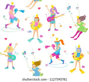 vector seamless pattern with playing princesses on a white background, consisting of girls guitarists, girls boxers, girls swimmers and girls on a swing. flat style in soft colors.