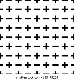 Vector seamless pattern plus and minus. Isolated on white background.