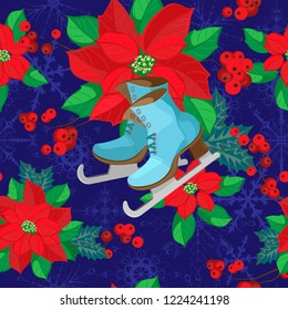 Vector seamless pattern. Poinsettia and skates on a blue background with snowflakes