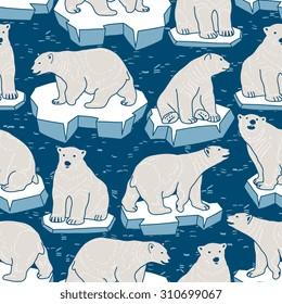 Vector seamless pattern with polar bear on an ice floe