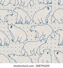 Vector seamless pattern with polar bears
