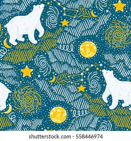 Vector seamless pattern with polar bears, moon, stars, galaxy. Beautiful repeated texture with wild animals. Night background with white bears.
