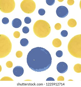 Vector seamless pattern polka dots in blue and yellow colors. Elements are not cropped. Pattern under the mask. Perfect design for posters, cards, textile, web etc.