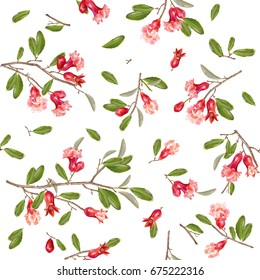 Vector seamless pattern with pomegranate branches and flowers isolated on white background. Romantic background design for wedding, greeting card, cosmetics, wrapping paper, textile print