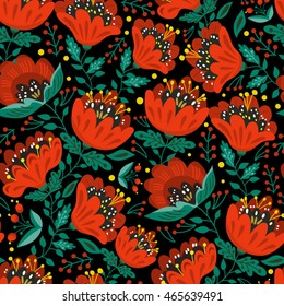 Vector seamless pattern of poppies in bright colors.