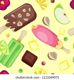 Vector seamless pattern of popsicles on a stick, pieces of different fruits and ice cubes. On a pastel yellow background