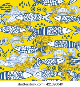 Vector seamless pattern of Portuguese sardines.