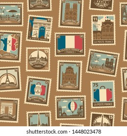 Vector seamless pattern with postage stamps on theme of France and Paris in retro style. French architectural landmarks, map and flag. Can be used as wallpaper, wrapping paper, fabric