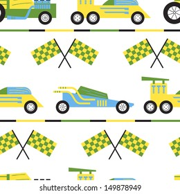 Vector seamless pattern with powerful sports cars