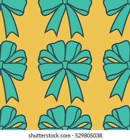 Vector seamless pattern with present bows. Holiday tile background.