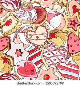 Vector seamless pattern with a lot of pretty  appetizing cookies. Round, heart, star shape. Lovely pink Nice , icolated on white elements for holiday food design: birthday, saint valentine, christmas.