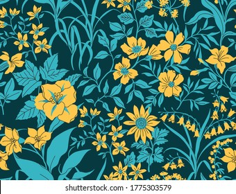 Vector seamless pattern. Pretty floral pattern in small flower. Small yellow flowers. Dark blue background. Liberty style. The elegant the template for fashion prints.
