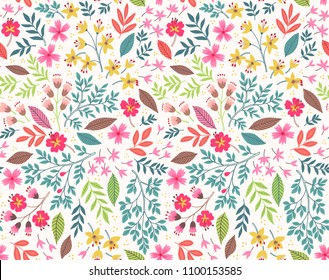 Vector seamless pattern. Pretty pattern in small flower. Small yellow and pink flowers. White background. Ditsy floral background. The elegant the template for fashion prints.