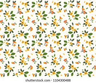 Vector seamless pattern. Pretty pattern in small flower. Small yellow and orange flowers. White background. Ditsy floral background. The elegant the template for fashion prints.