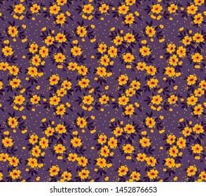 Vector seamless pattern. Pretty pattern in small flower. Small yellow flowers. Violet background. Ditsy floral background. The elegant the template for fashion prints.