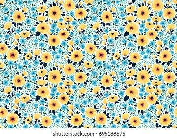 Vector seamless pattern. Pretty pattern in small flower. Small yellow and blue flowers. White background. Ditsy floral background. The elegant the template for fashion prints.