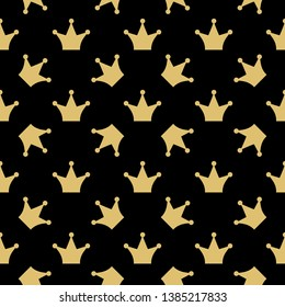 Vector seamless pattern for print on fabric, jersey, wallpaper, women's underwear, sleepwear, home wear. Baby girl fashion collection. Hand draw crown elements. Sweet style. Princess..