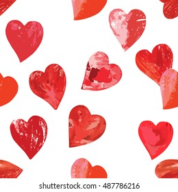 A vector seamless pattern of print stamped mixed media hearts on white background