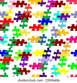 vector seamless pattern with puzzle.