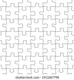 Vector seamless pattern of puzzle grid of black line on  white background
