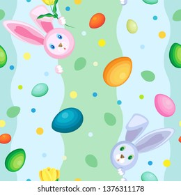 Vector seamless pattern of rabbits and eggs.  Background of vertical wavy pastel stripes