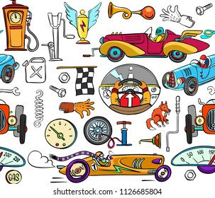 vector seamless pattern with racing retro cars and related objects, such as a pump, a spring, a speedometer, a glove, a wheel, a jack, a canister, etc. Colored cartoon style. outline with a coloring.
