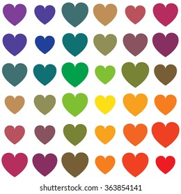 Vector seamless pattern of rainbow colored hearts in different sizes isolated on white the background.