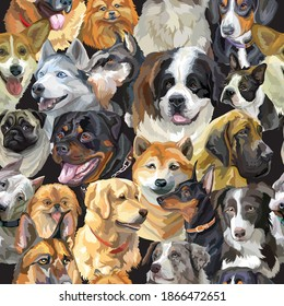 Vector seamless pattern with realistic dogs breeds portraits. Colorful background with dogs heads for creating textiles, wallpaper, paper, wedding invitation, design, print, linen. Vector Illustration