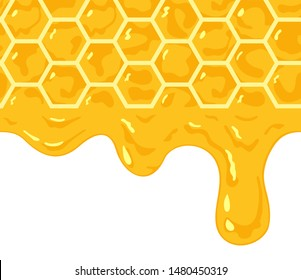 Vector. Seamless pattern realistic honeycomb with honey drips. Honey drips are joined as a seamless pattern. Layers good separated.