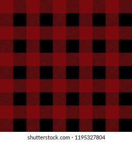 Vector seamless pattern of red and black lumberjack plaid.