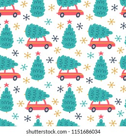 Vector seamless pattern with red car and christmas tree on the roof. Winter endless repeated texture with retro cars and Christmas deciration. Holiday ornament.