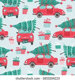 Vector seamless pattern with red car and Christmas tree. Christmas picture. Red pickup. New year illustration surface delivery service.