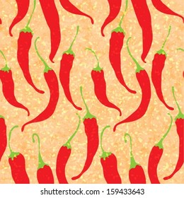 Vector seamless pattern with red chili peppers, eps10