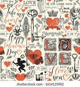 Vector seamless pattern with red hearts, keys, keyholes, cupids and inscriptions on the theme of love. Abstract background in retro style with the words I love you in different languages.